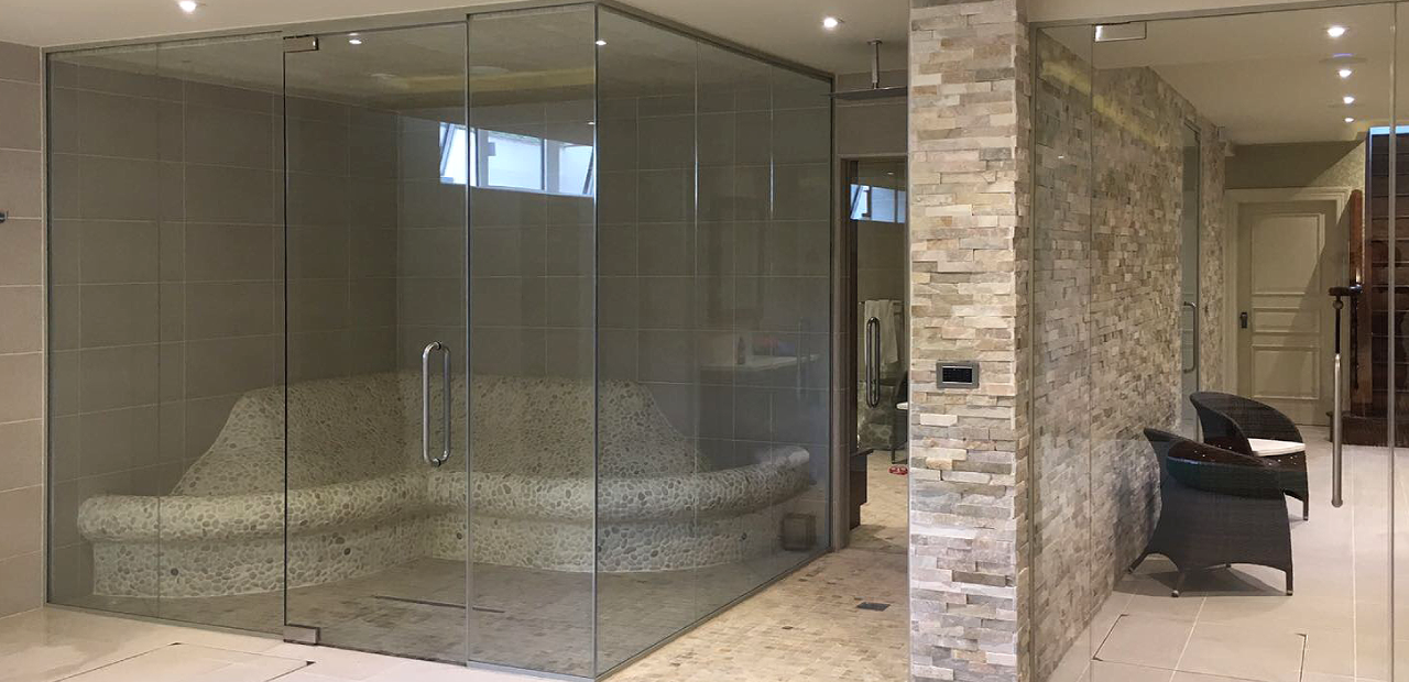 Glass Partitions in a spa