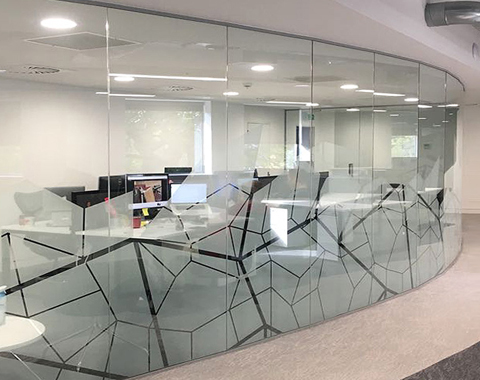 Glass partition with a bespoke graphic