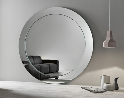 Large circular glass mirror