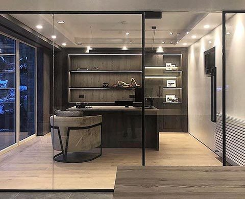 Black-framed Glass Partition