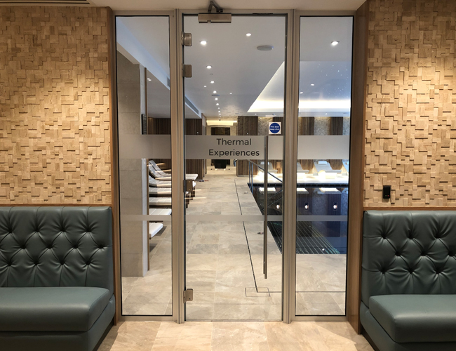 Spa glass door and partition walls