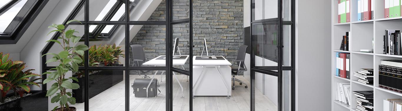 Office partition black frame
