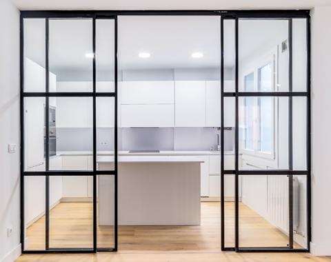 Black framed partitions