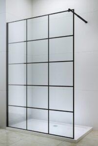 Black metal frame shower screen