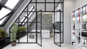 Metal and glass screen room dividers