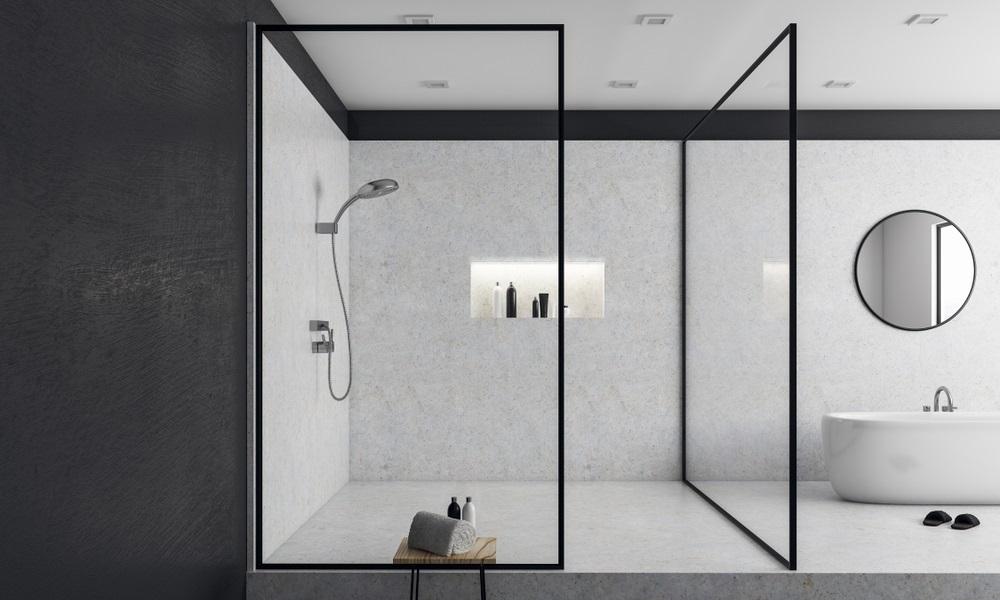 Bespoke shower screen black frame